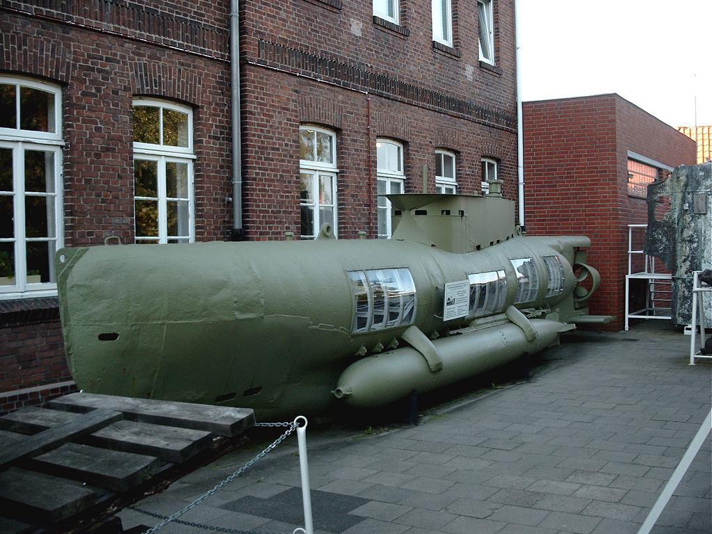 ... minisubmarine as displayed in Cuxhaven 's wreckmuseum (Germany